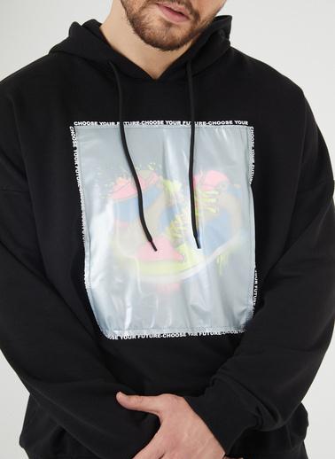 XHAN Siyah Baskılı Kapüşonlu Sweatshirt 1Kxe8-44393-02 Siyah